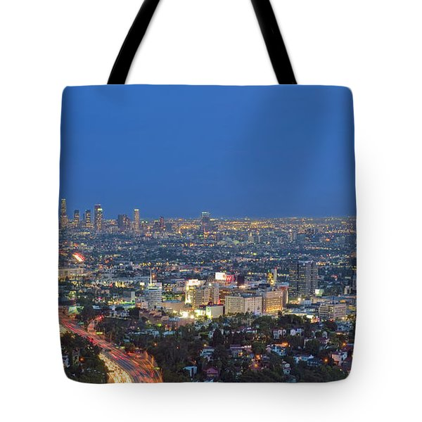 L.a. Skyline Los Angeles Ca Cityscape Night Dusk Lit Lights On 3 Tote Bag