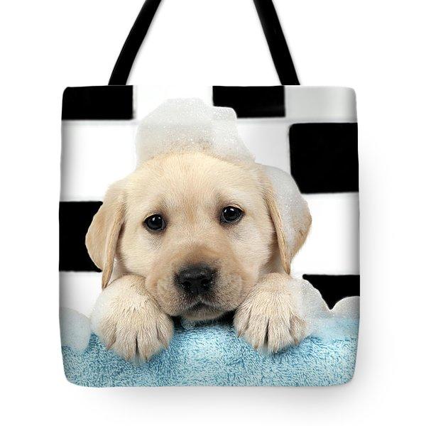 Labrador Puppy In Bath Tote Bag