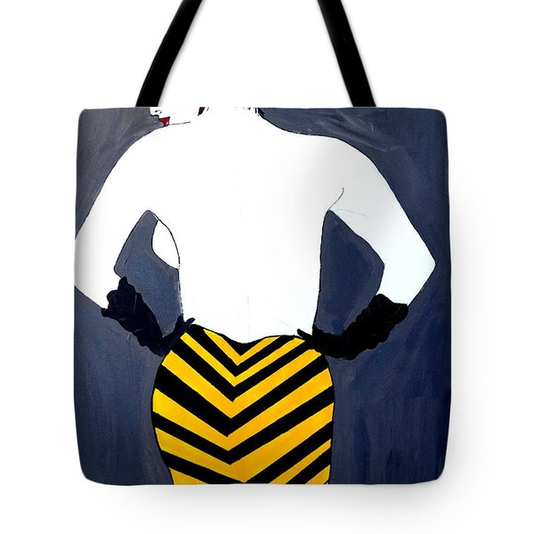 Tote Bag featuring the painting Lady In Stripes by Nora Shepley