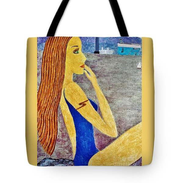 Tote Bag featuring the painting Lady  by Jasna Gopic