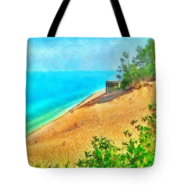 Lake Michigan Overlook On The Pierce Stocking Scenic Drive Tote Bag