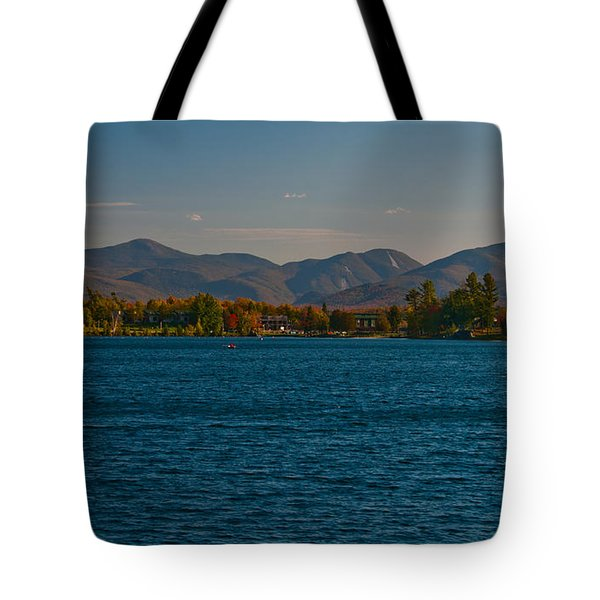Lake Placid And The Adirondack Mountain Range Tote Bag