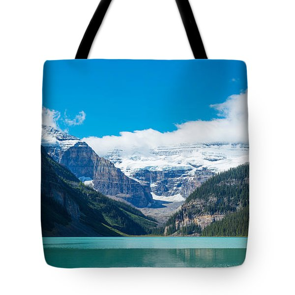 Lake With Canadian Rockies Tote Bag