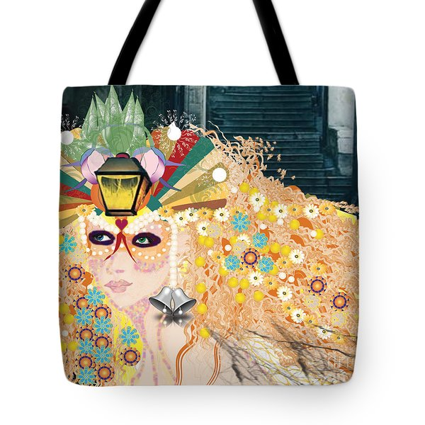 Tote Bag featuring the digital art Lantern Fairy by Kim Prowse