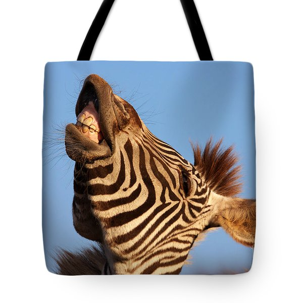 Tote Bag featuring the photograph Laughing Zebra by Nick  Biemans