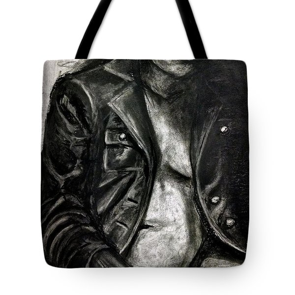 Tote Bag featuring the drawing Leather Jacket by Gabrielle Wilson-Sealy