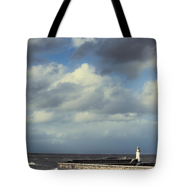 Lighthouse At Whitehaven Tote Bag by Amanda Elwell