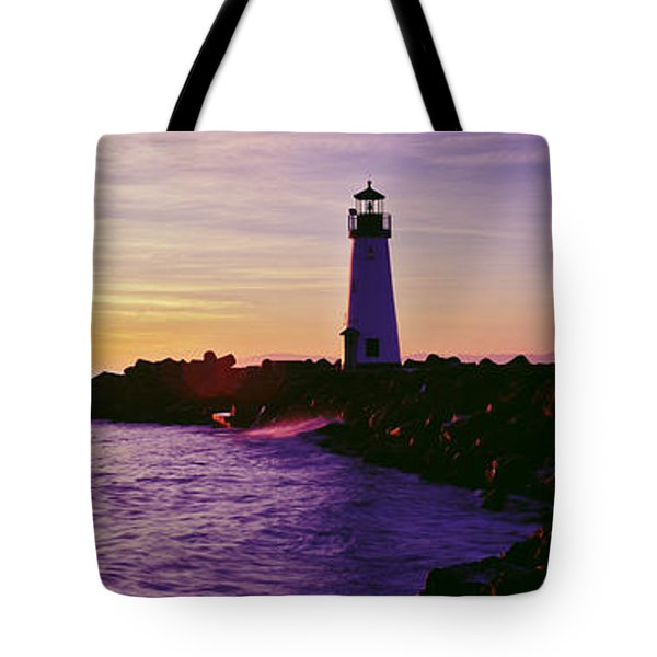 Lighthouse On The Coast At Dusk, Walton Tote Bag