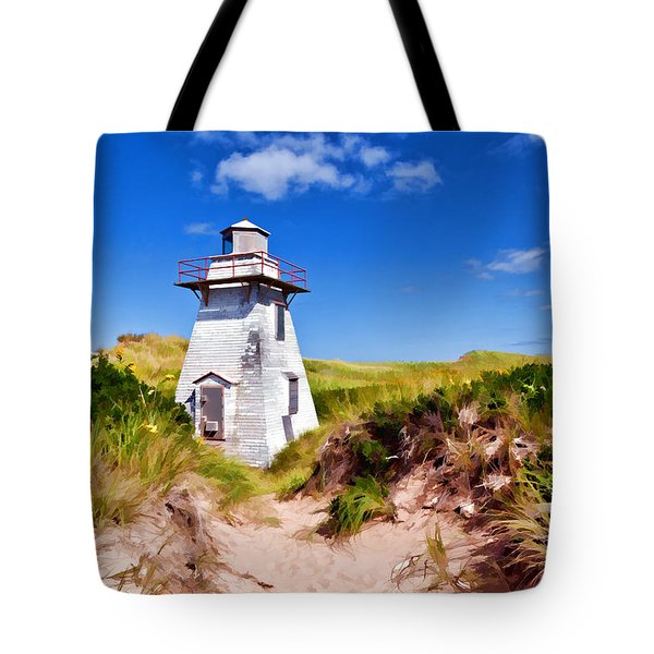 Lighthouse On The Dunes Tote Bag by Dan Dooley