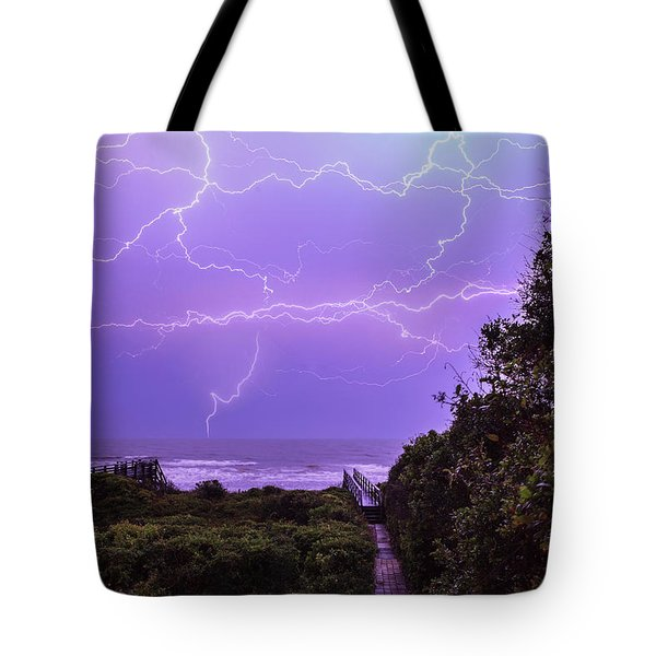 Lightning Over The Beach Tote Bag