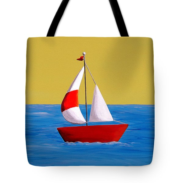 Lil Sailboat Tote Bag by Cindy Thornton