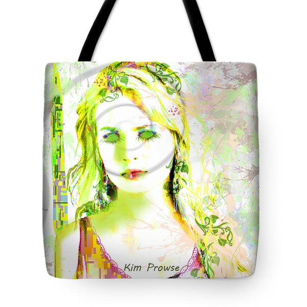 Tote Bag featuring the digital art Lily Lime by Kim Prowse