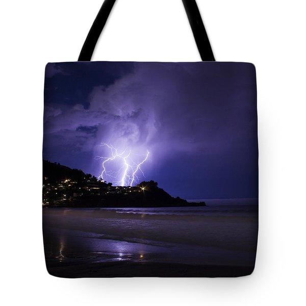 Lightning Over The Ocean Tote Bag