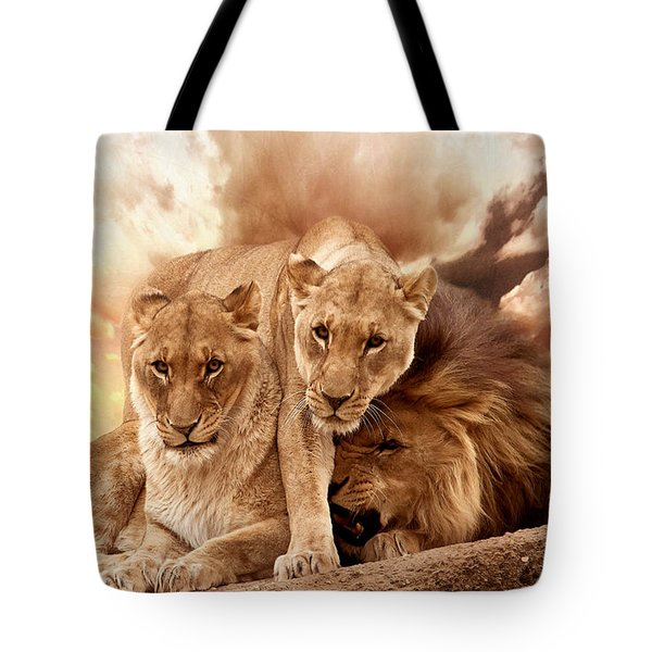 Lions Tote Bag by Christine Sponchia