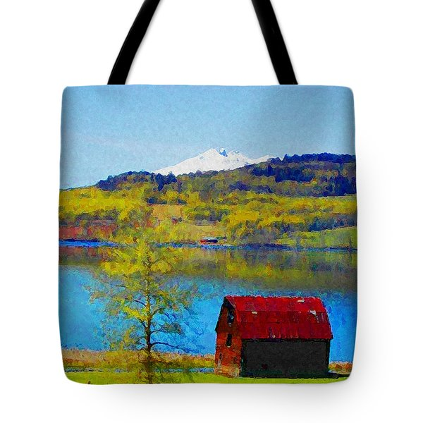 Little Barn By The Lake Tote Bag by Lenore Senior and Constance Widen