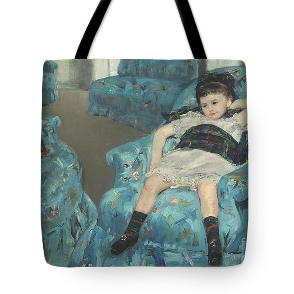 Little Girl In A Blue Armchair Tote Bag by Celestial Images
