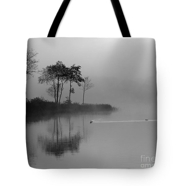 Loch Ard Trees In The Morning Mist Tote Bag