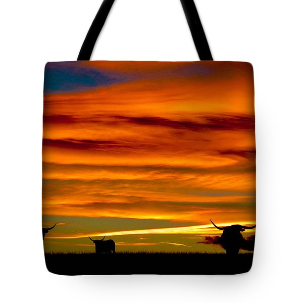 Longhorn Sunset Tote Bag