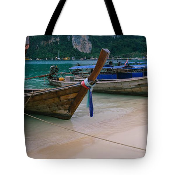 Longtail Boats Moored On The Beach Tote Bag