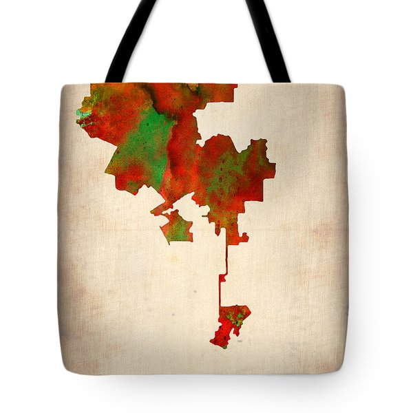 Los Angeles Watercolor Map Tote Bag by Naxart Studio
