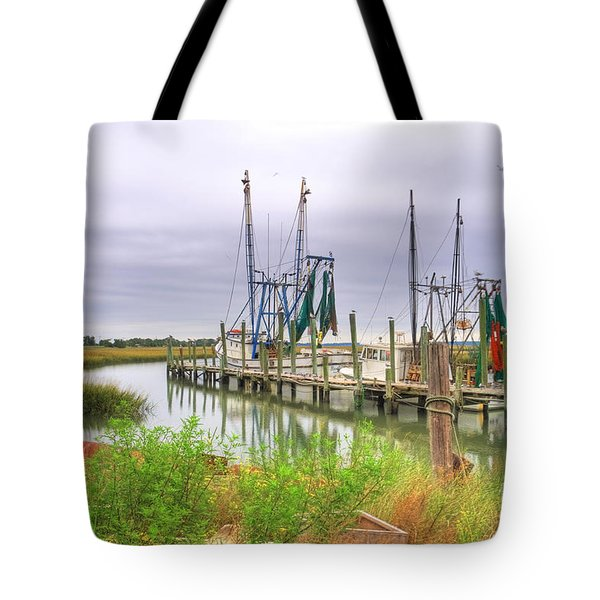 Lowcountry Shrimp Dock Tote Bag by Scott Hansen