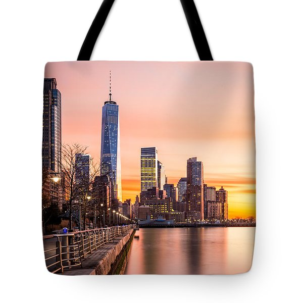 Tote Bag featuring the photograph Lower Manhattan At Sunset by Mihai Andritoiu