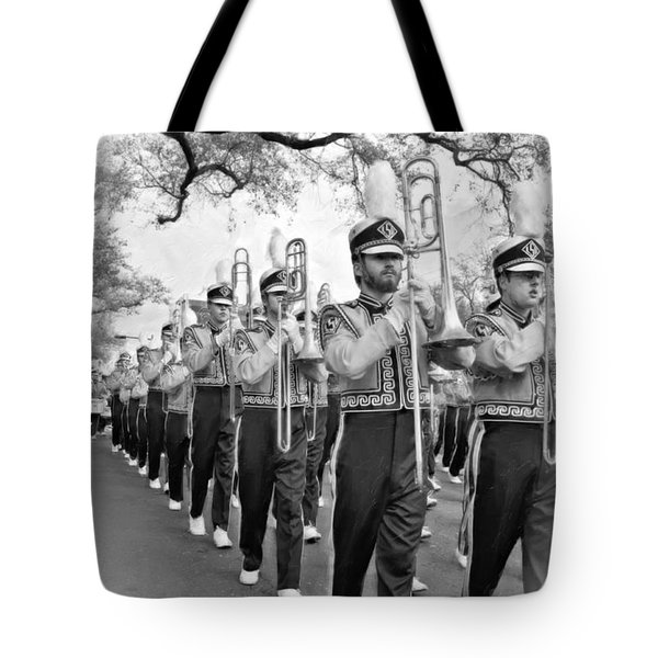 Lsu Marching Band Vignette Tote Bag by Steve Harrington
