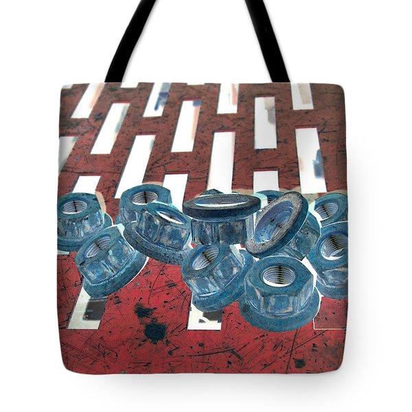 Lug Nuts On Grate Vertical Tote Bag by Heather Kirk