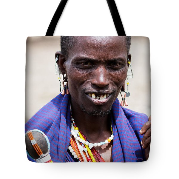 Maasai Man Portrait In Tanzania Tote Bag by Michal Bednarek