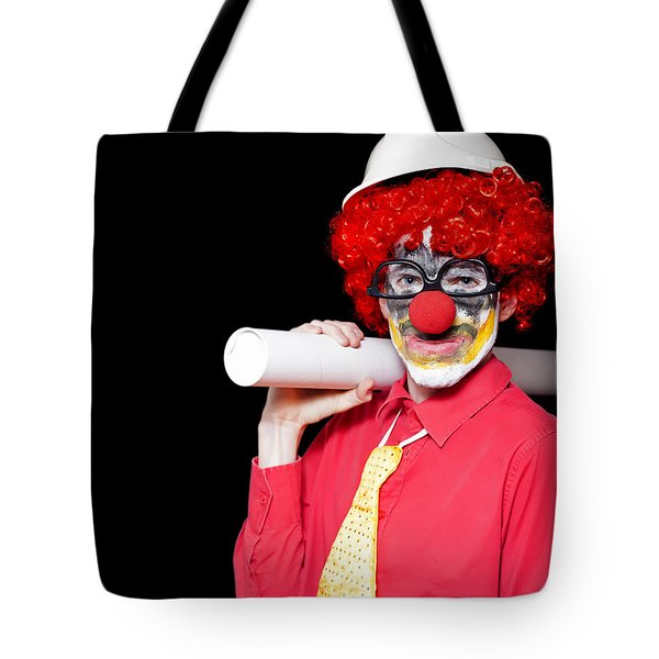 Male Architect Clown Holding Bad Construction Plan Tote Bag