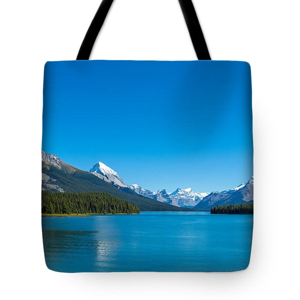 Maligne Lake With Canadian Rockies Tote Bag