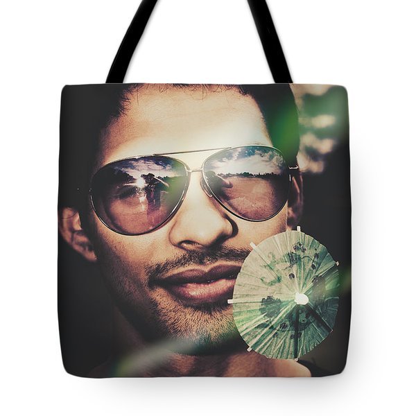 Man Enjoying Tequila Sunrise In Mexico Tote Bag