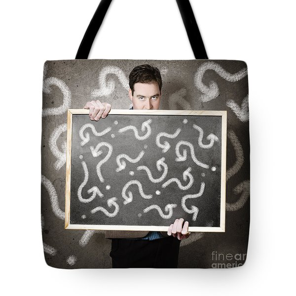 Man Holding Direction Sign With Arrow Questions Tote Bag