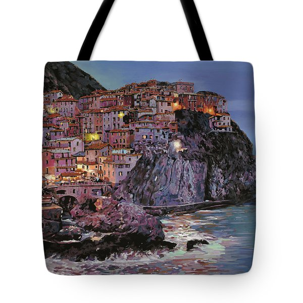 Tote Bag featuring the painting Manarola At Dusk by Guido Borelli