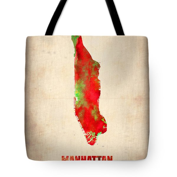 Manhattan Watercolor Map Tote Bag by Naxart Studio