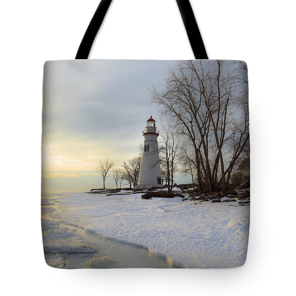 Marblehead Lighthouse Winter Sunrise Tote Bag