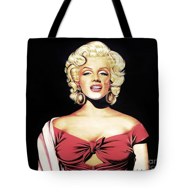 Marilyn In Red Tote Bag by Joseph Sonday