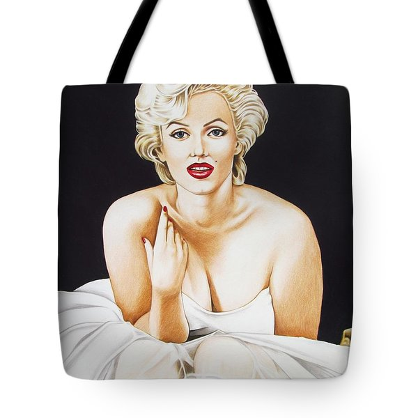 Marilyn In White Tote Bag by Joseph Sonday