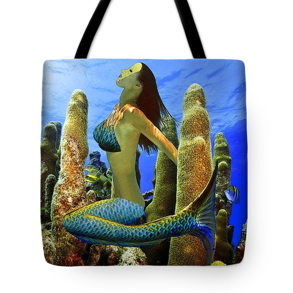 Masked Mermaid Tote Bag