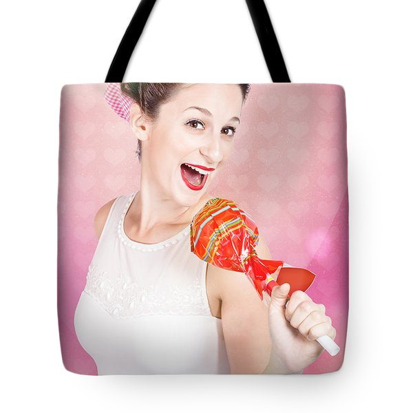 Mc Female Pin Up Singing With Lollipop Microphone Tote Bag