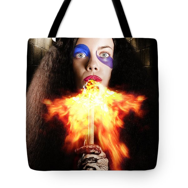Medieval Jester Breathing Fire During Carnival Act Tote Bag