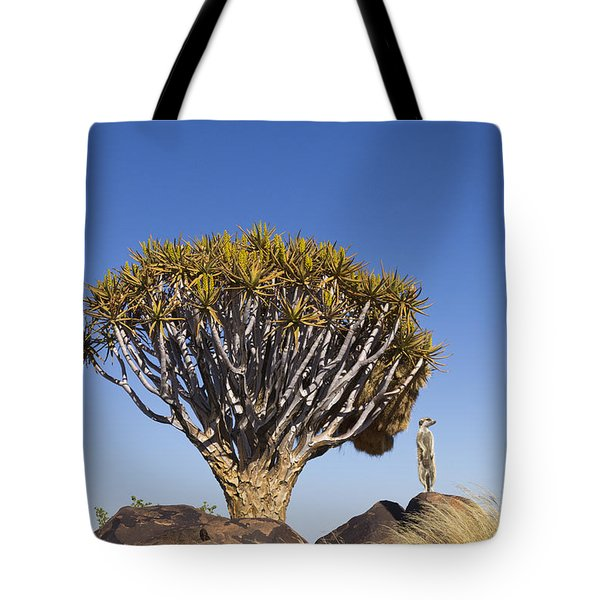 Meerkat In Quiver Tree Grassland Tote Bag