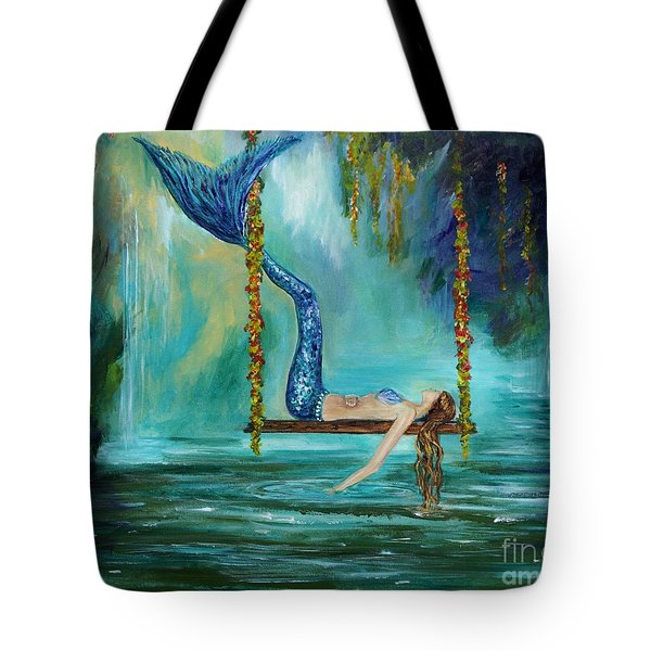 Mermaids Lazy Lagoon Tote Bag by Leslie Allen