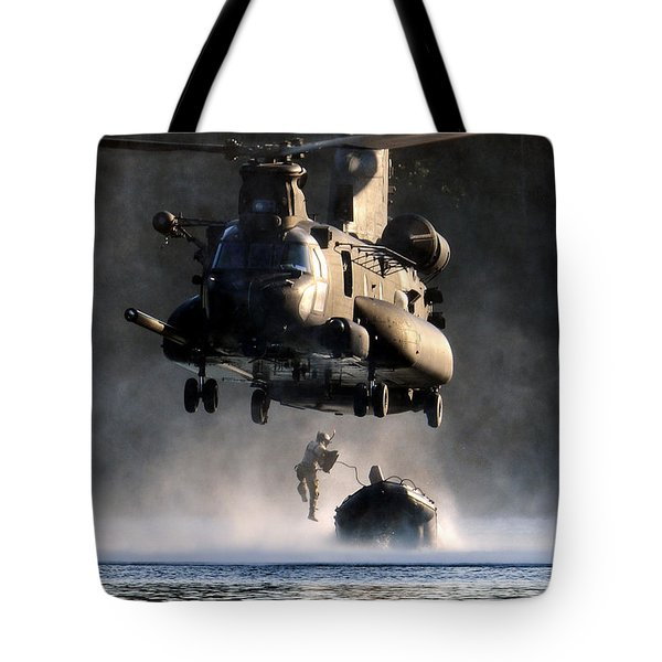 Tote Bag featuring the photograph Mh-47 Chinook Helicopter by Celestial Images