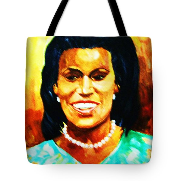 Tote Bag featuring the painting Michelle Obama by Al Brown