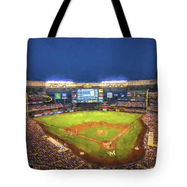 Milwaukee Brewers Miller Park Painted Digitally Tote Bag