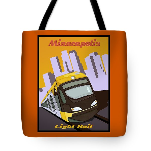 Tote Bag featuring the painting Minneapolis Light Rail Travel Poster by Jude Labuszewski