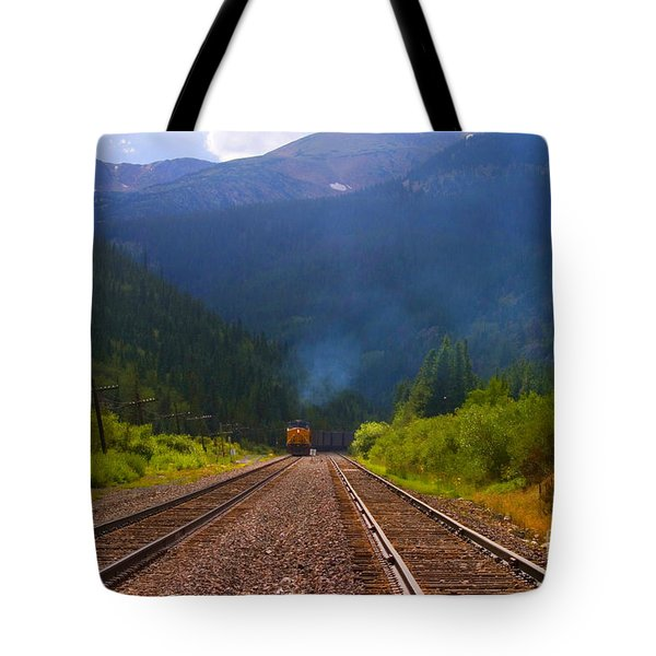 Misty Mountain Train Tote Bag