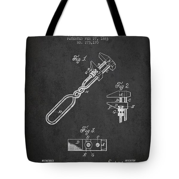 Monkey Wrench Patent Drawing From 1883 Tote Bag by Aged Pixel