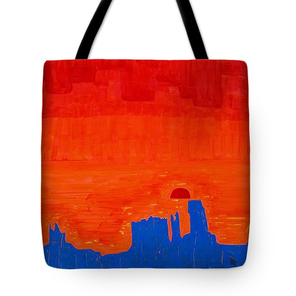 Monument Valley Original Painting Tote Bag by Sol Luckman